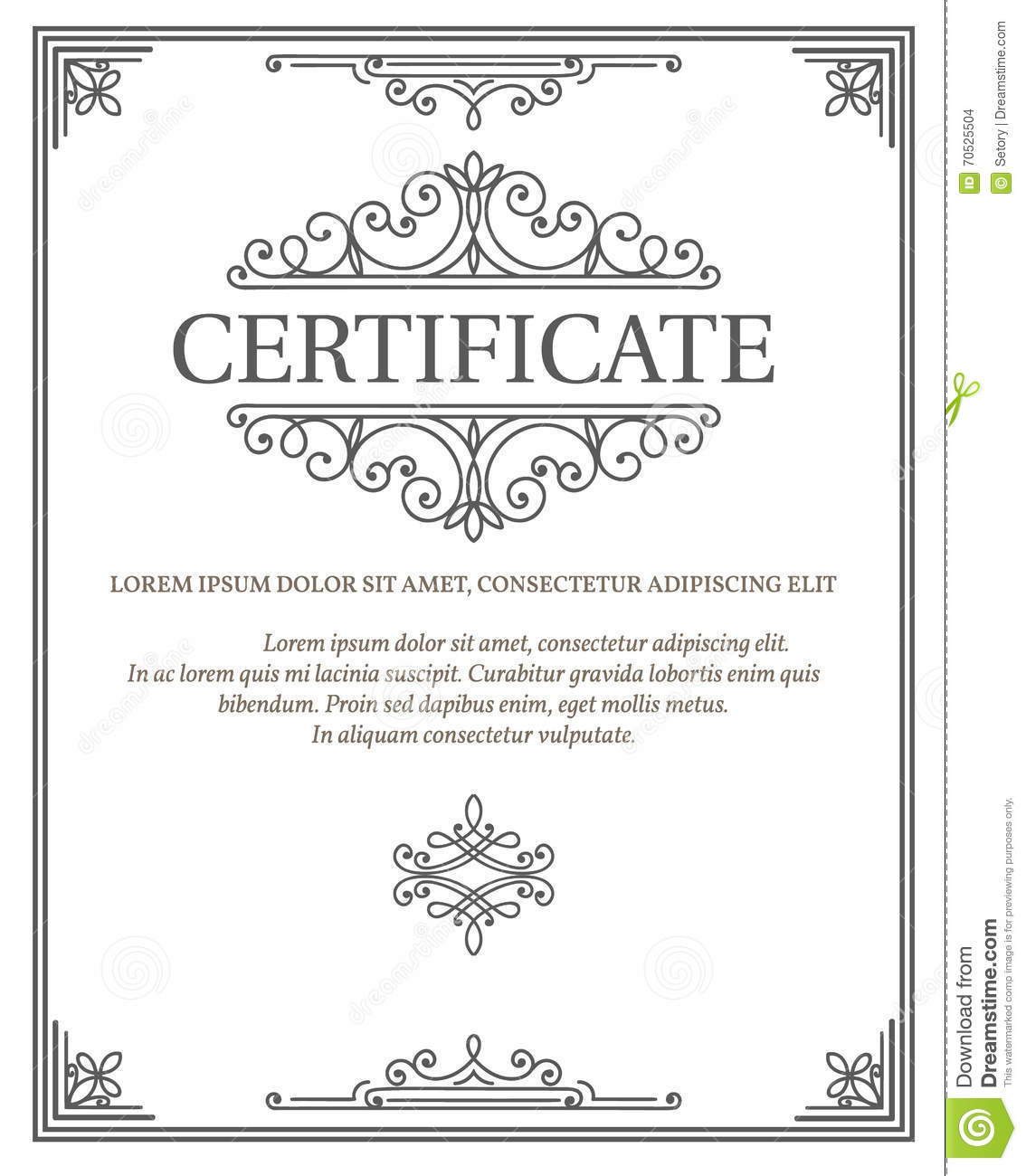 Vertical Certificate Template Diploma Stock Vector Illustration Of