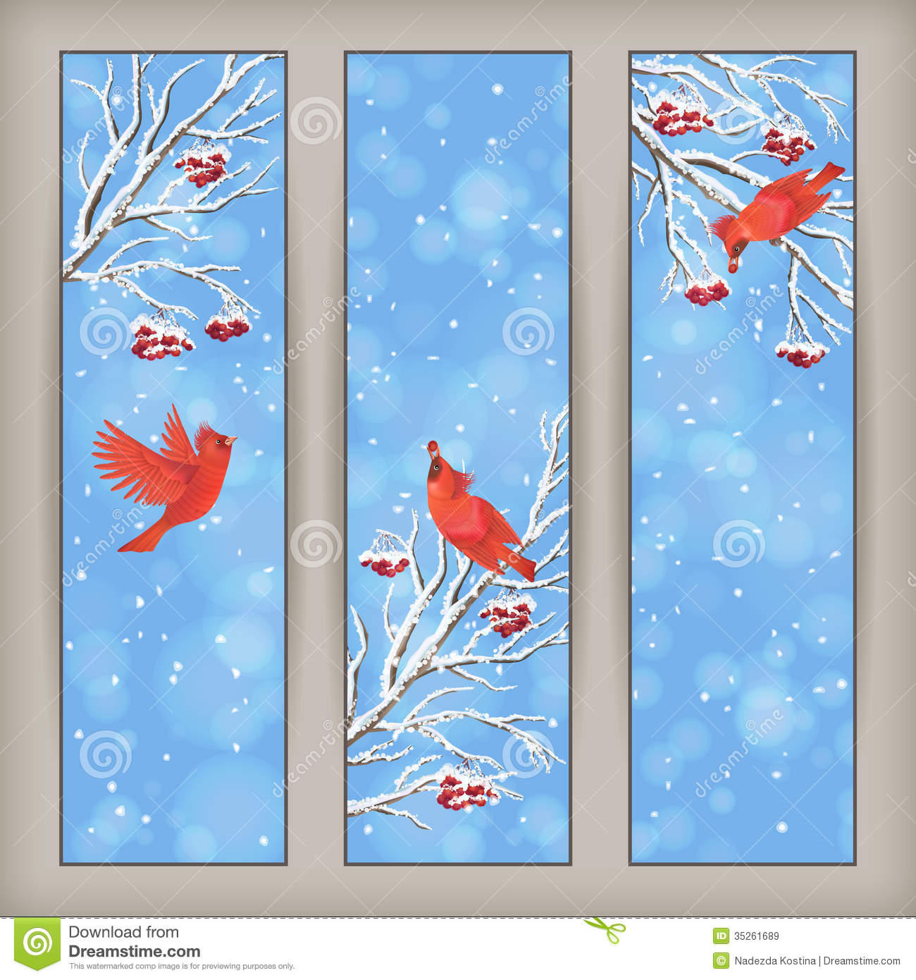 Vertical christmas banners with birds rowan tree branches and berries