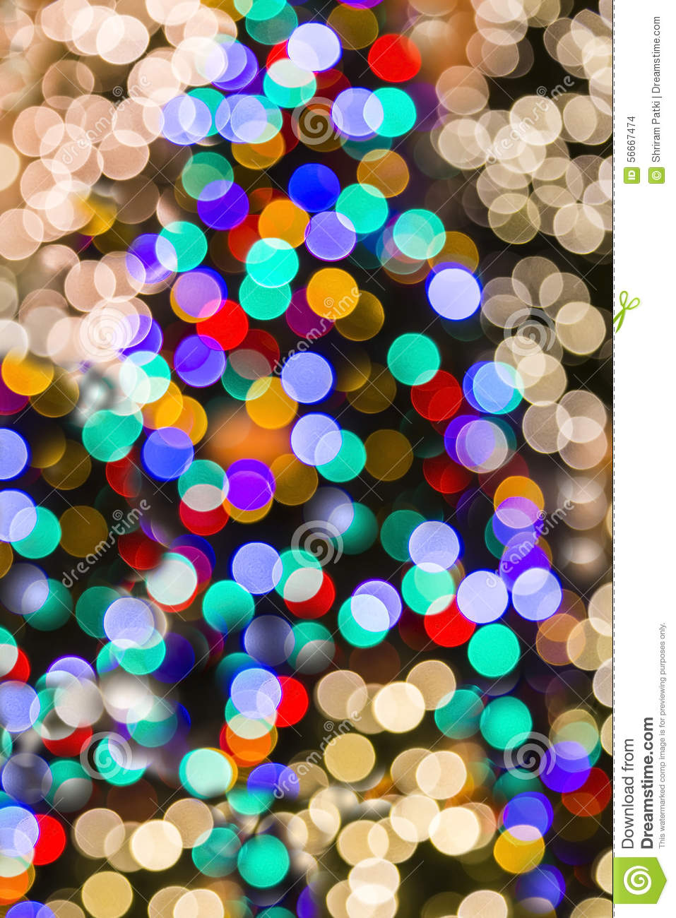 Vertical Christmas Lights Background Blurred