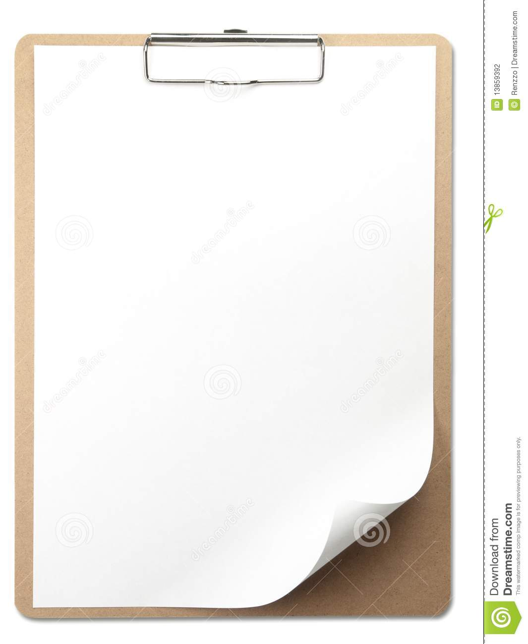vertical clipboard with white paper stock photo image of metal