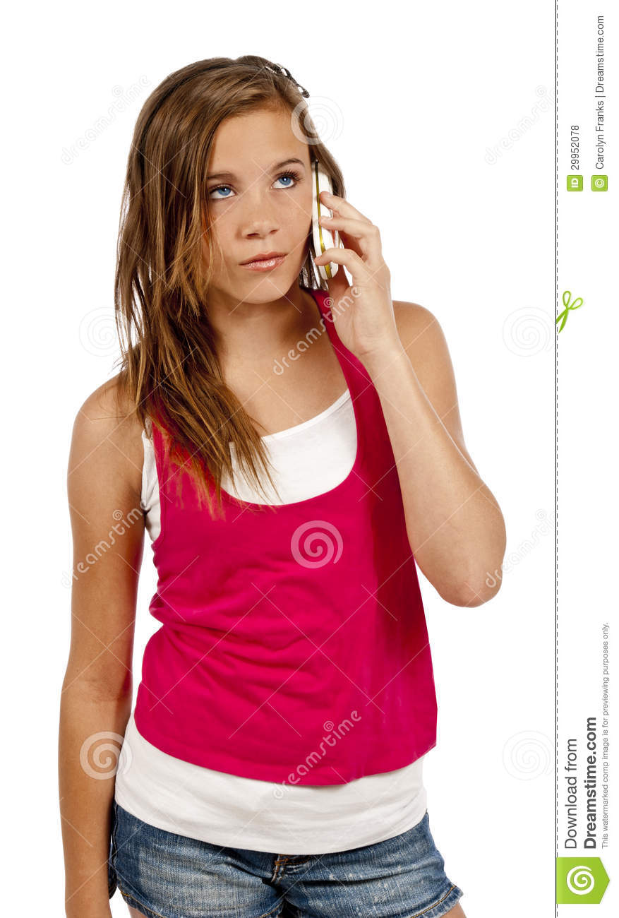 Teenage Girl With Long Blond Hair And Blue Eyes Troutdale: Teenager On Mobile Phone Or Cell Phone Looking Frustrated