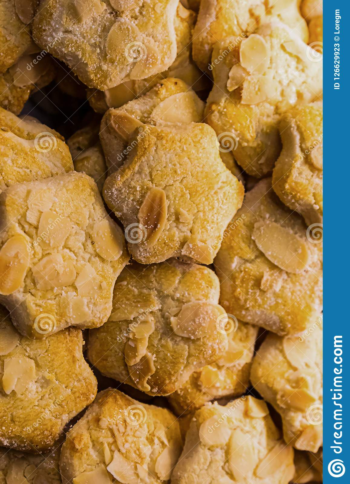 Vertical culinary confectionery pattern cookies delicate almond crackers cookies delicious lunch
