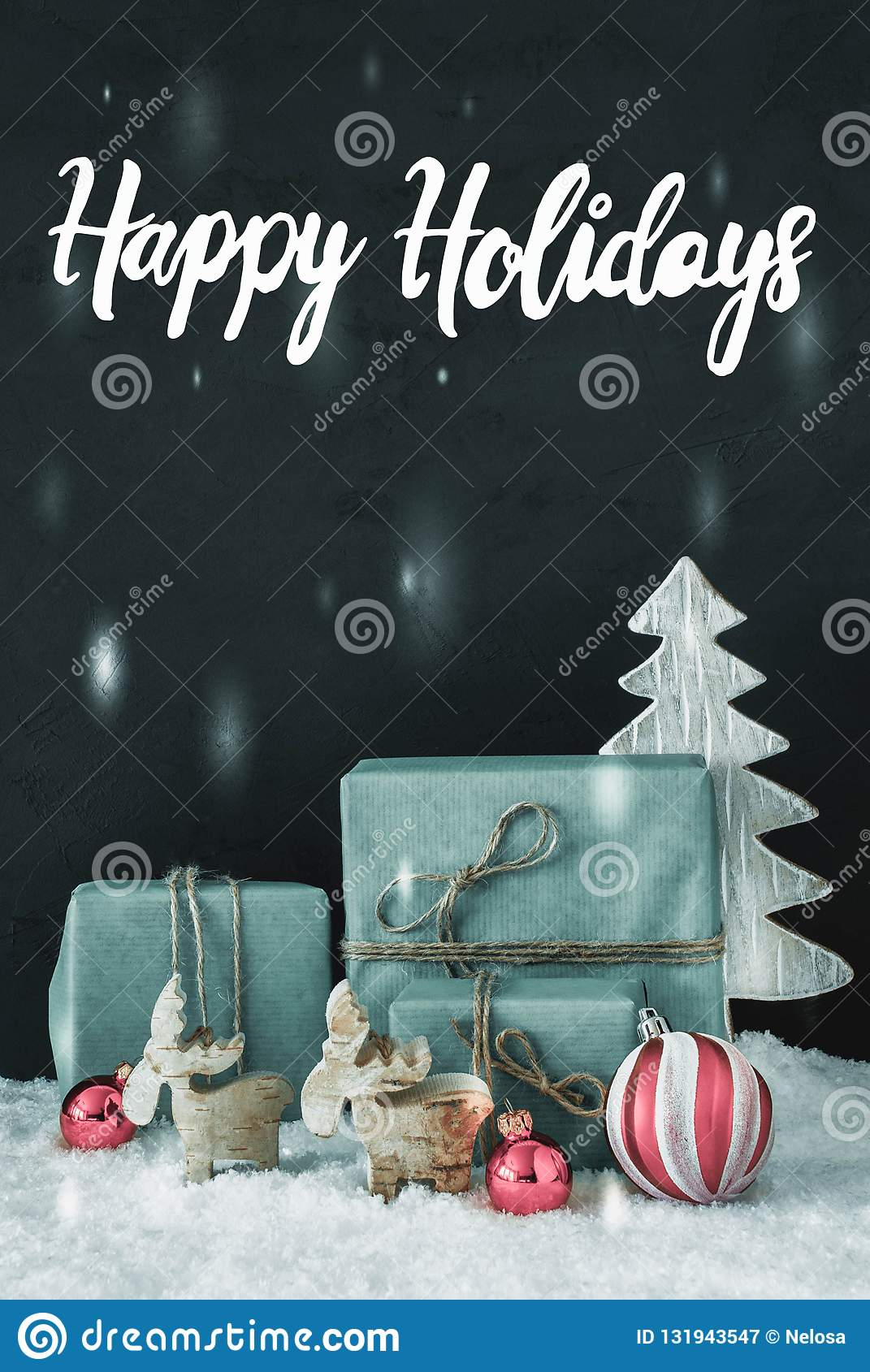 Vertical Decoration, Calligraphy Happy Holidays, Frosty Look