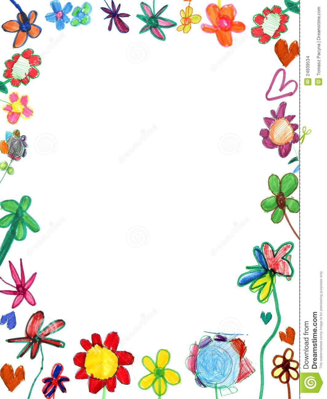 Vertical flowers frame, child illustration
