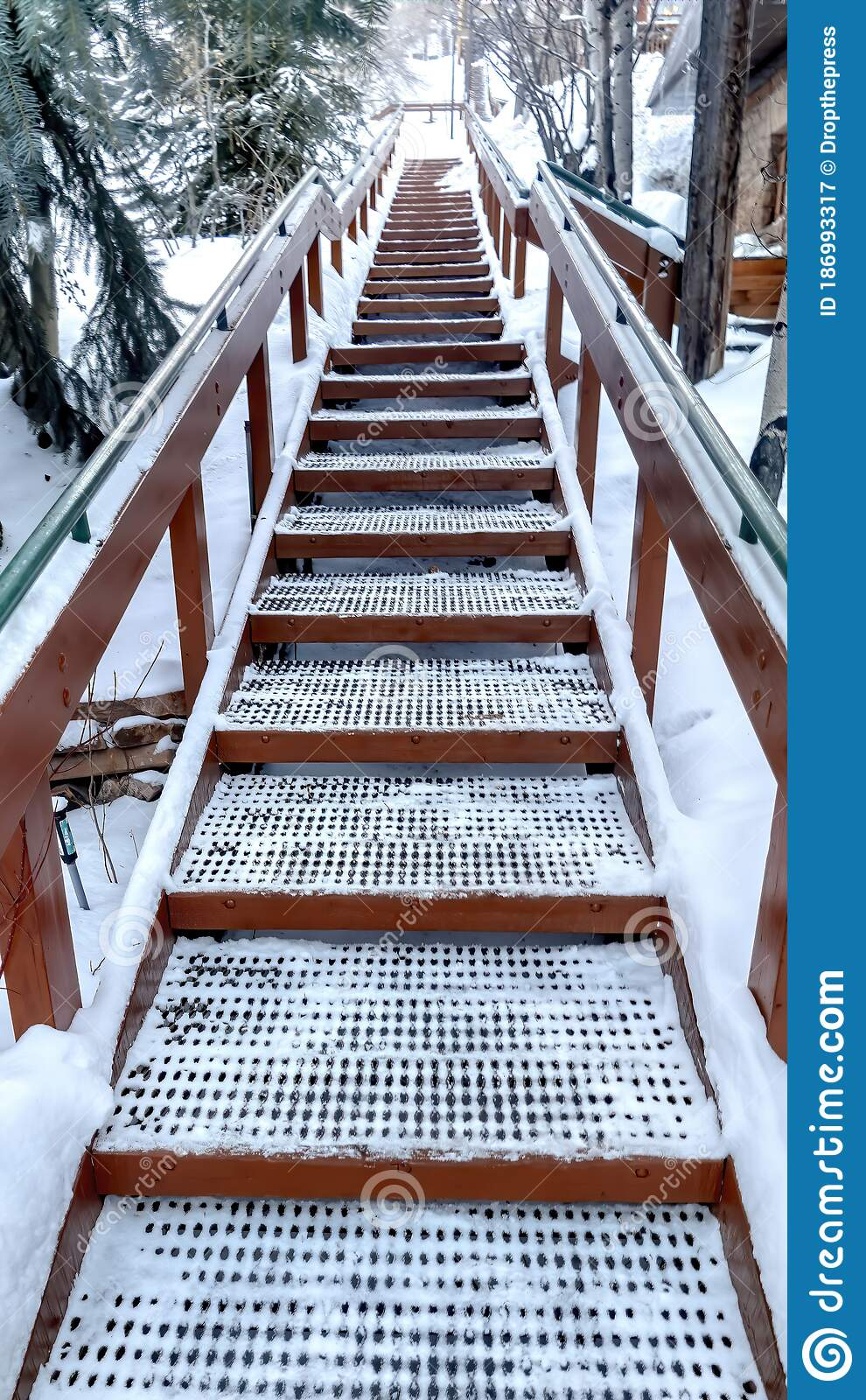 Vertical Focus On Stairs With Grate Treads And Metal Handrails Against Snow Covered Hill Stock Image Image Of Winter Scenic 186993317