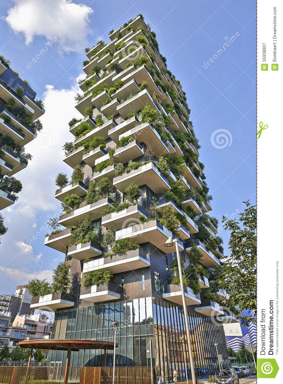 vertical forest apartment building in the porta nuova area of mi editorial photography image. Black Bedroom Furniture Sets. Home Design Ideas