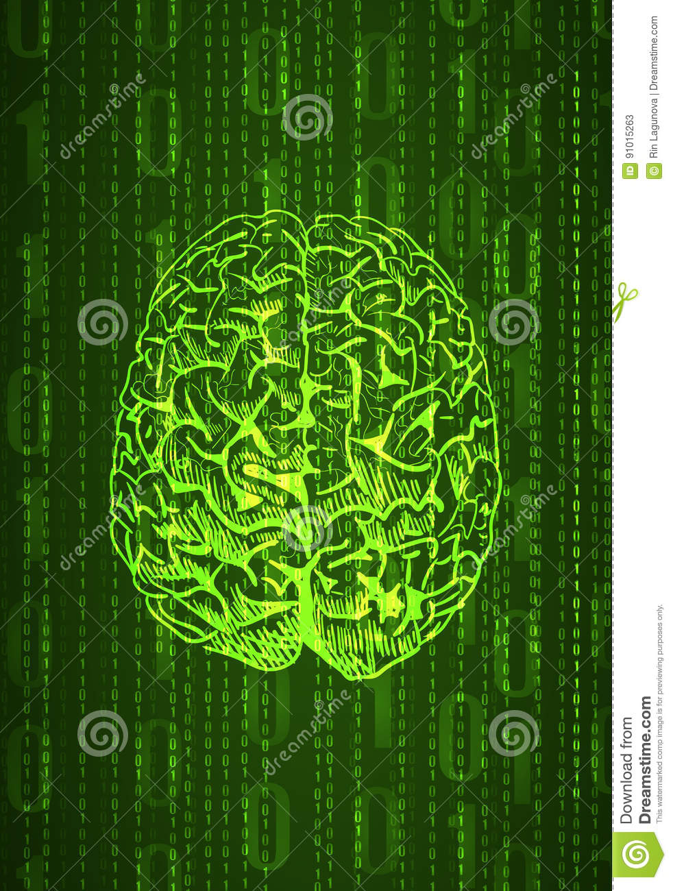 Vertical Format Background Numbers And Brain Sketch, Abstract VECTOR ...