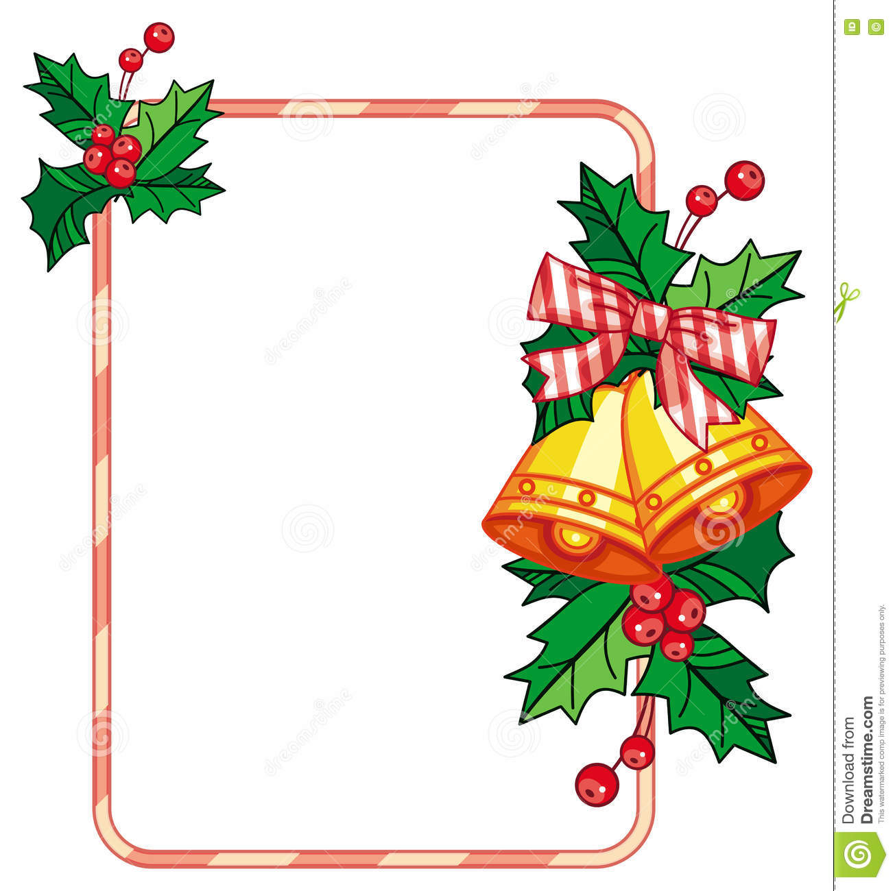vertical frame with holly berry and jingle bells stock illustration rh dreamstime com Jingle Bells Black and White Clip Art jingle bell clip art border