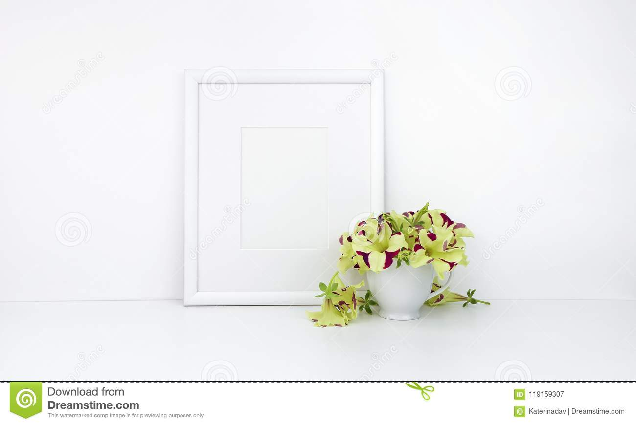 Vertical frame mockup, flowers on cup