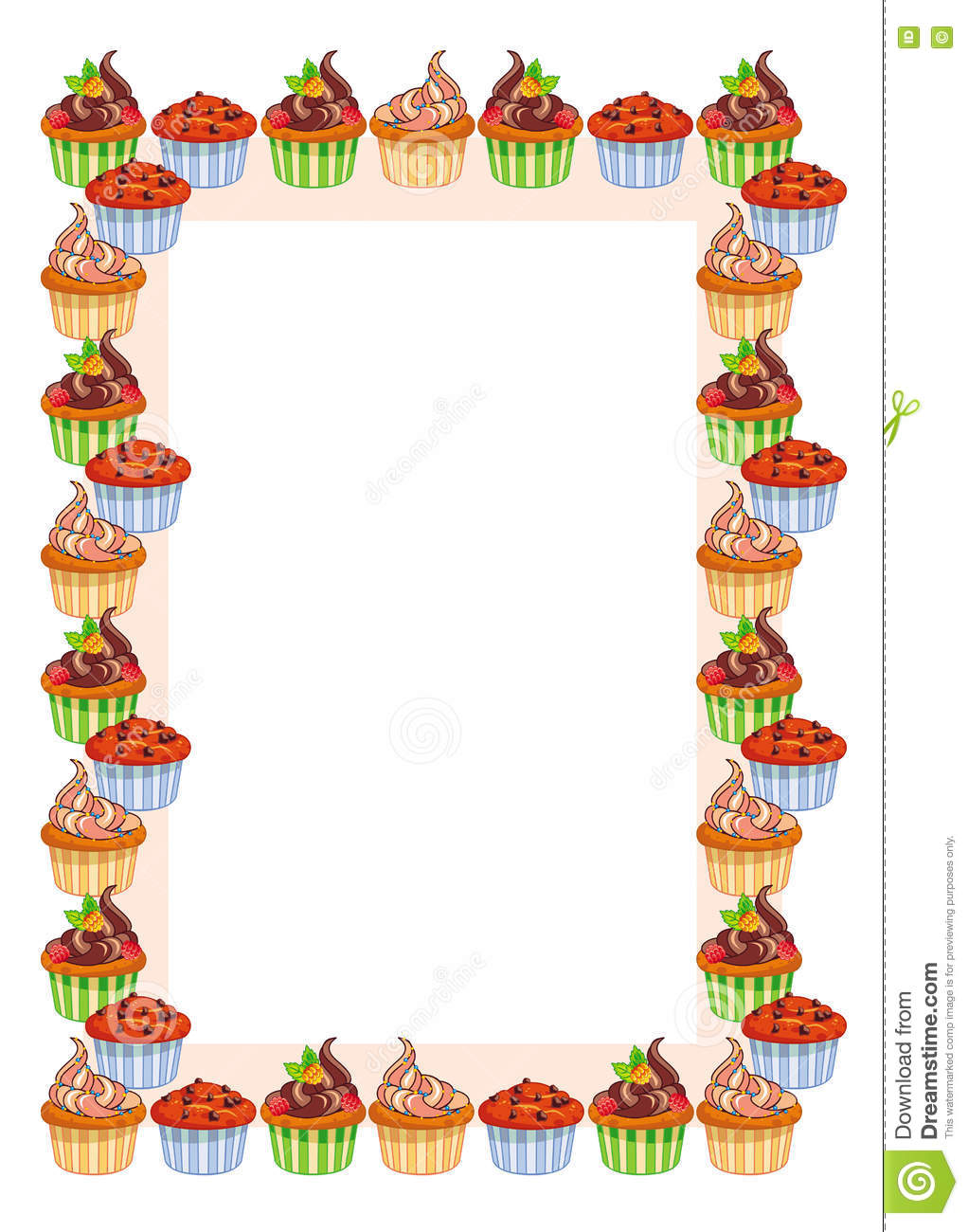 Vertical Frame With Muffins. Stock Illustration - Image