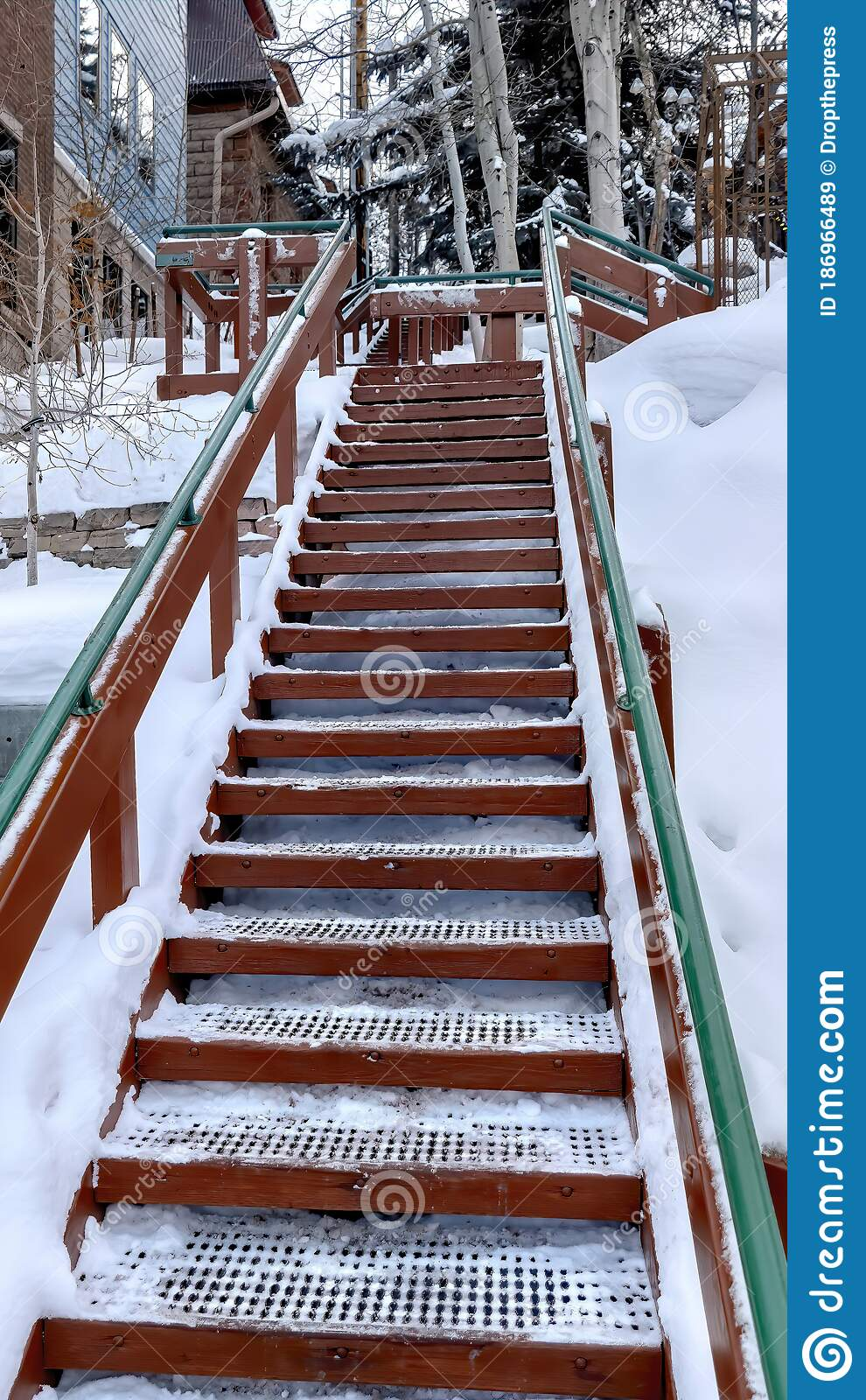 Image of: Vertical Frame Outdoor Stairs With Grate Metal Treads And Green Handrail On Snowy Winter Hill Stock Image Image Of Slope Exterior 186966489