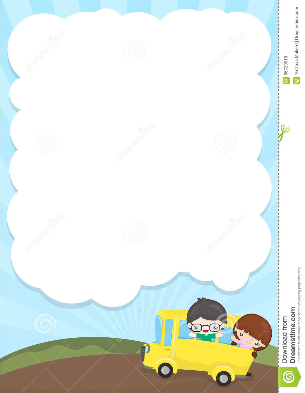 Vertical Frame With School And Kids Illustration 66720518 - Megapixl