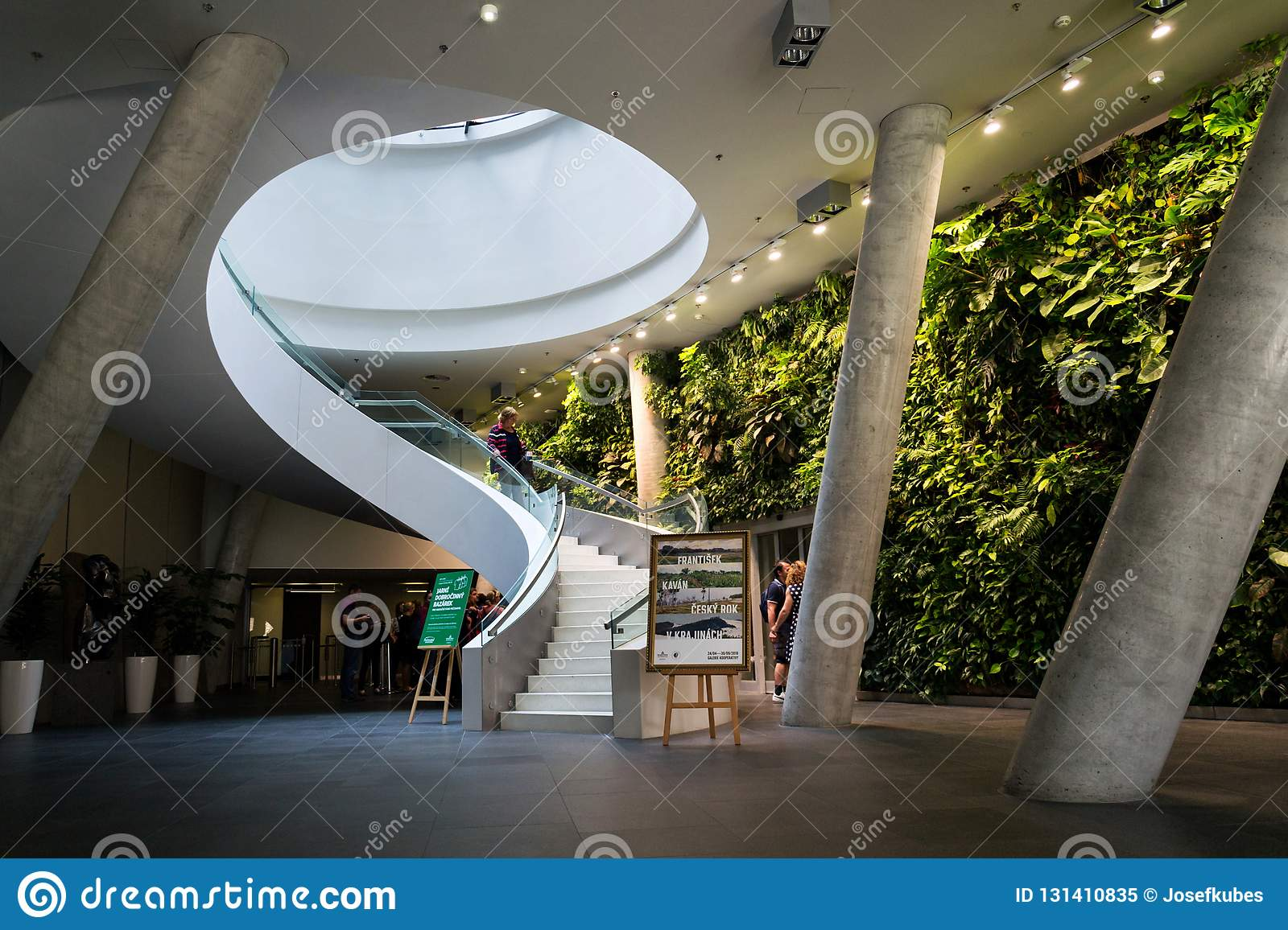 PRAGUE, CZECH REPUBLIC   MAY 19 2018: Vertical Garden Indoors, Living Green  Wall With Flowers And Plants Under Artificial Lighting On May 19, 2018 In  Prague ...