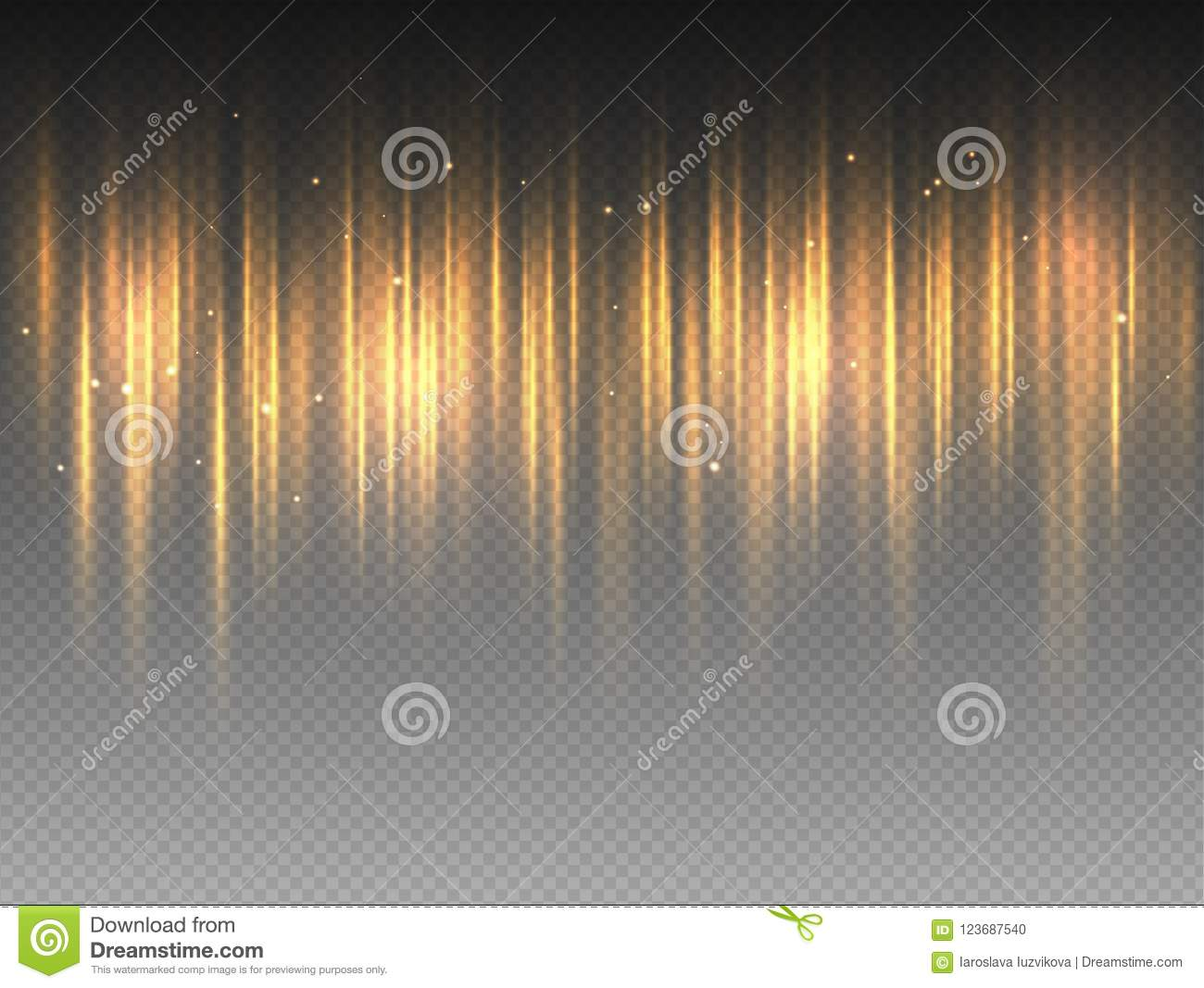 Vertical golden yellow radiance glow pulsing rays on transparent background. Vector abstract illustration of hot orange Aurora