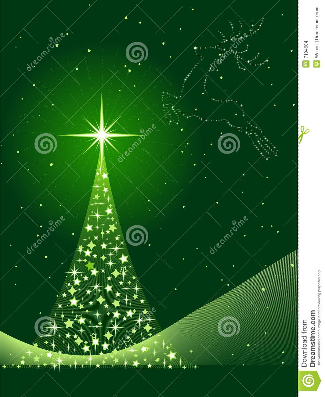 Vertical Gre Background With Christmas Tree And Re Stock ...