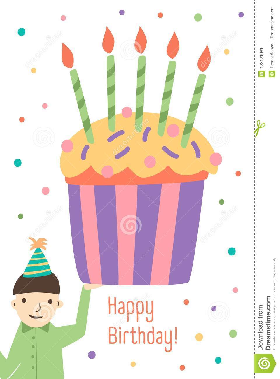 Vertical Greeting Card Template With Happy Birthday Wish Cute Boy Holding Giant Cupcake Decorated Candles And Colorful Festive Confetti On Background