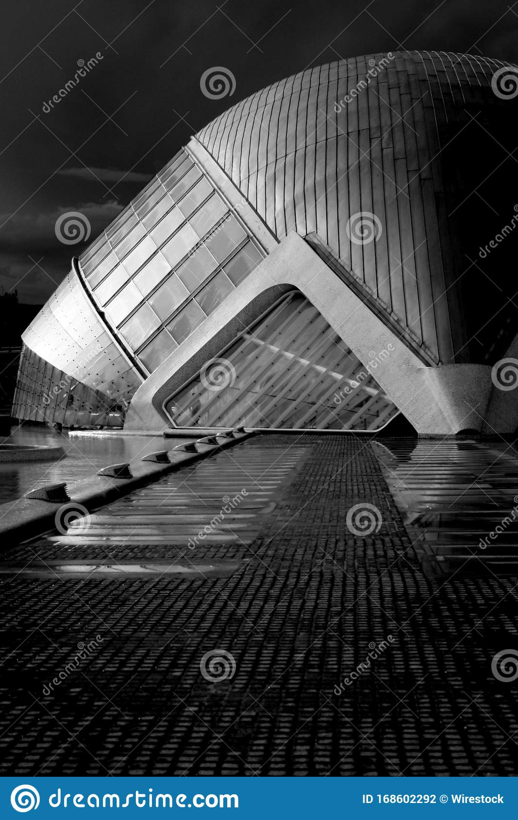 Vertical Greyscale Shot Of A Building With Unique Interior Stock Illustration Illustration Of Beautiful Modern 168602292