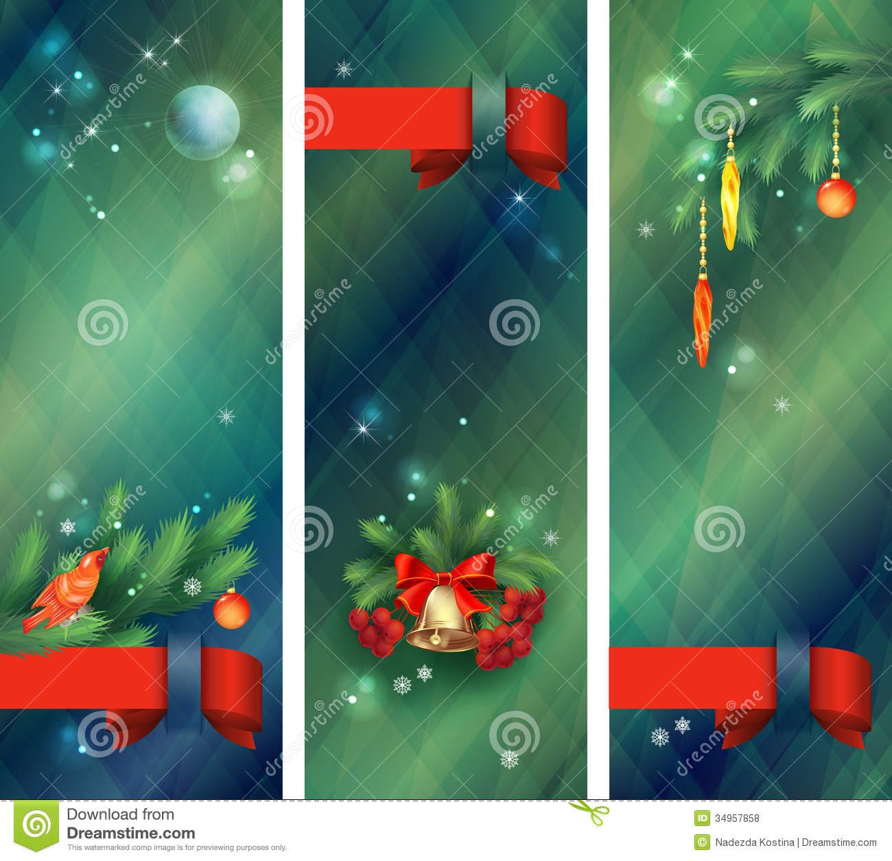 Vertical holidays christmas banners stock vector image