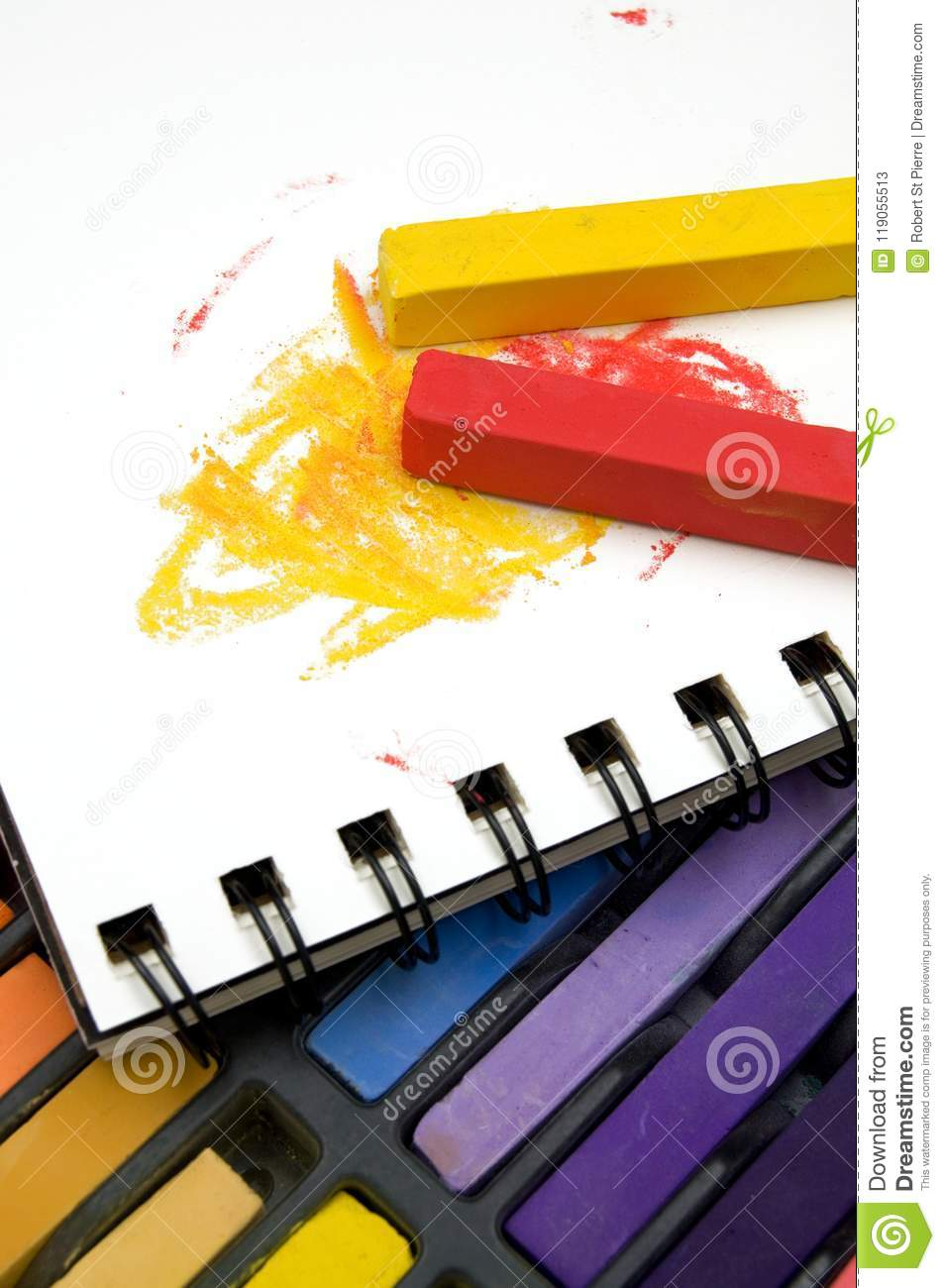 Vertical Image Of Colorful Pastel Crayons And Coloring Book Stock ...
