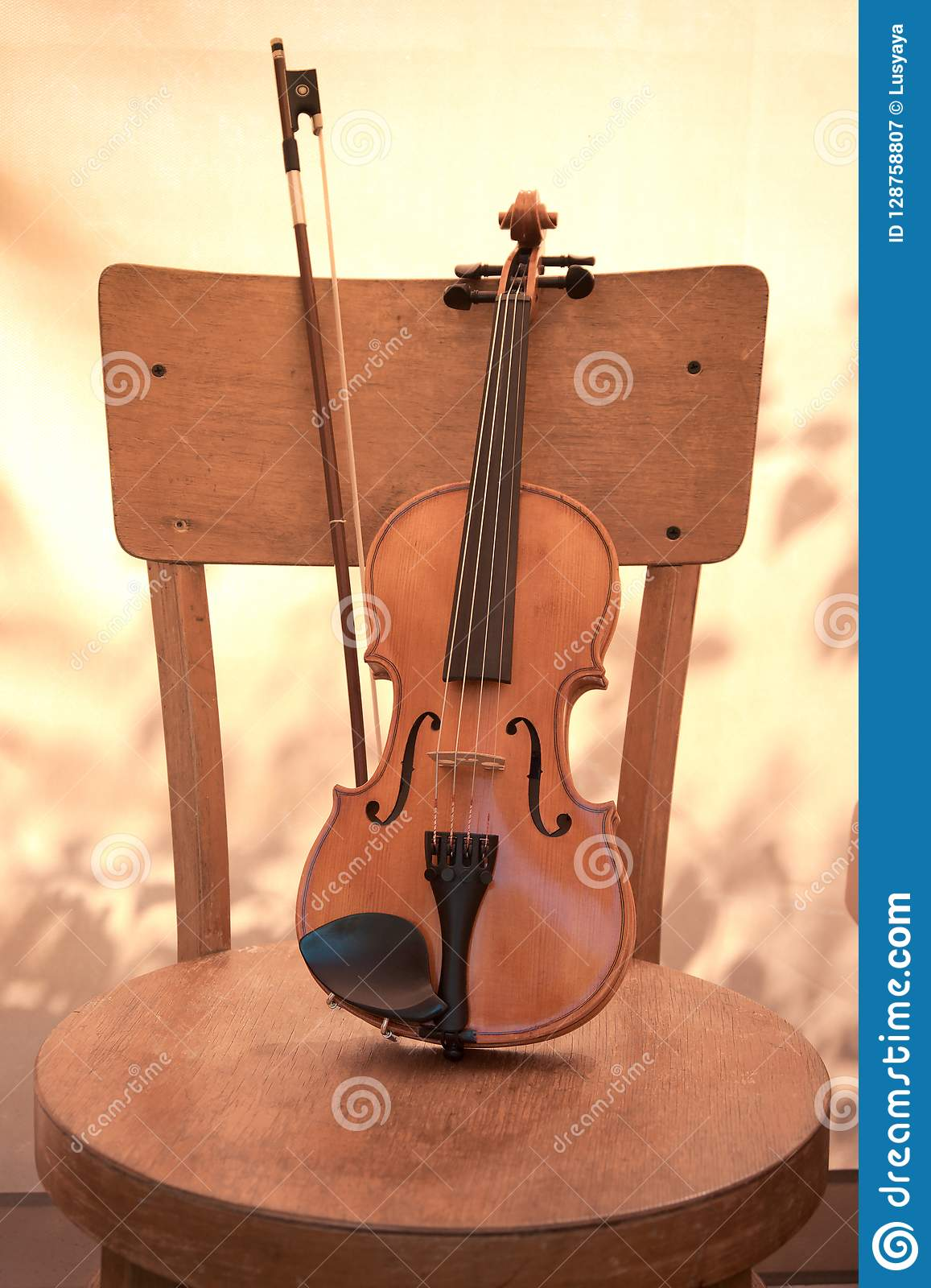 Vertical Image Of Violin On The Chair  Toned  Stock Image