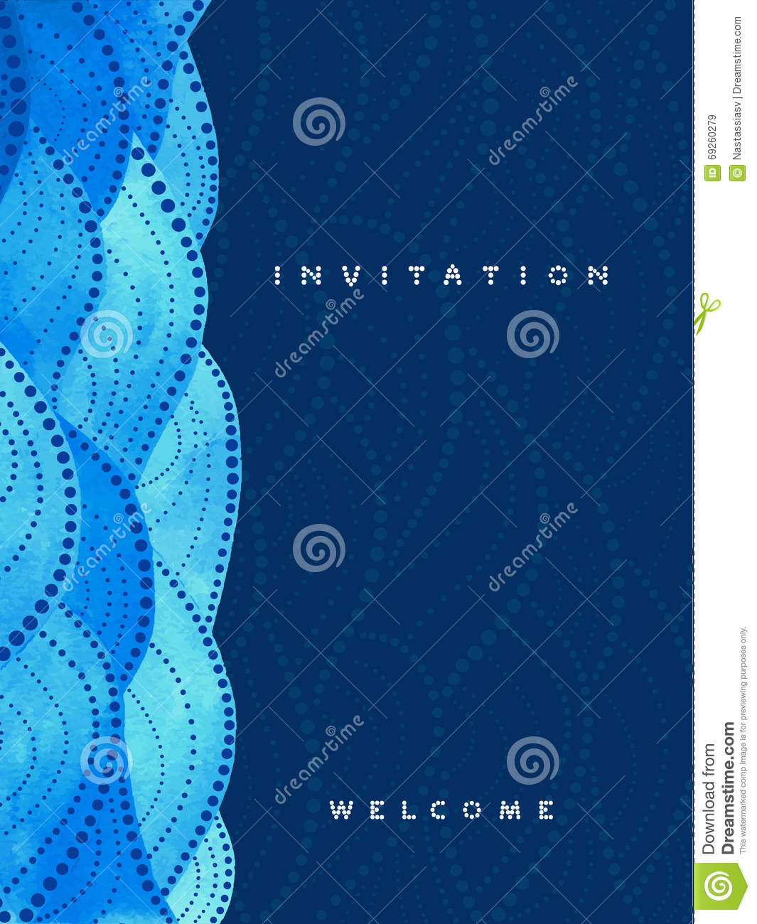 vertical invitation card on navy blue background stock