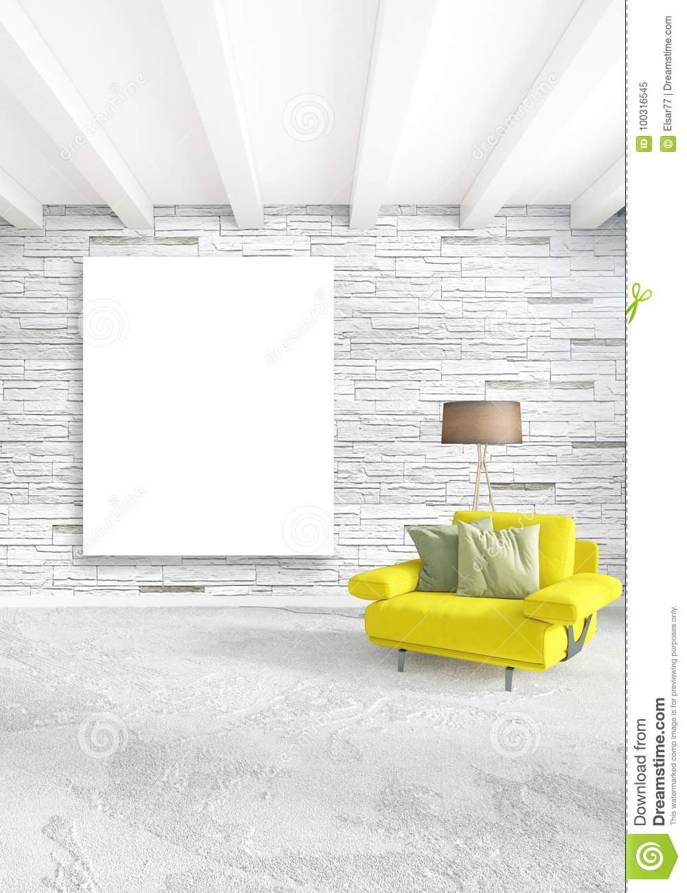 Vertical Minimal Style Interior Loft Design With Wood Wall And Grey Sofa.  3D Rendering.