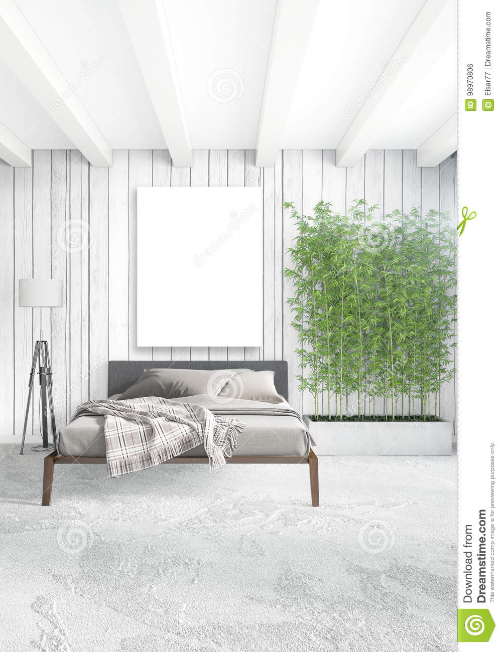 Vertical Modern Interior Bedroom Or Living Room With Eclectic Wall