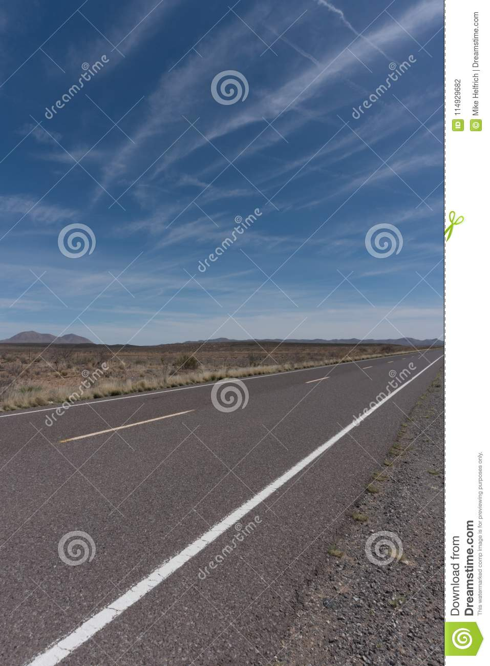 Vertical of New Mexico state highway nine along the Mexican border.