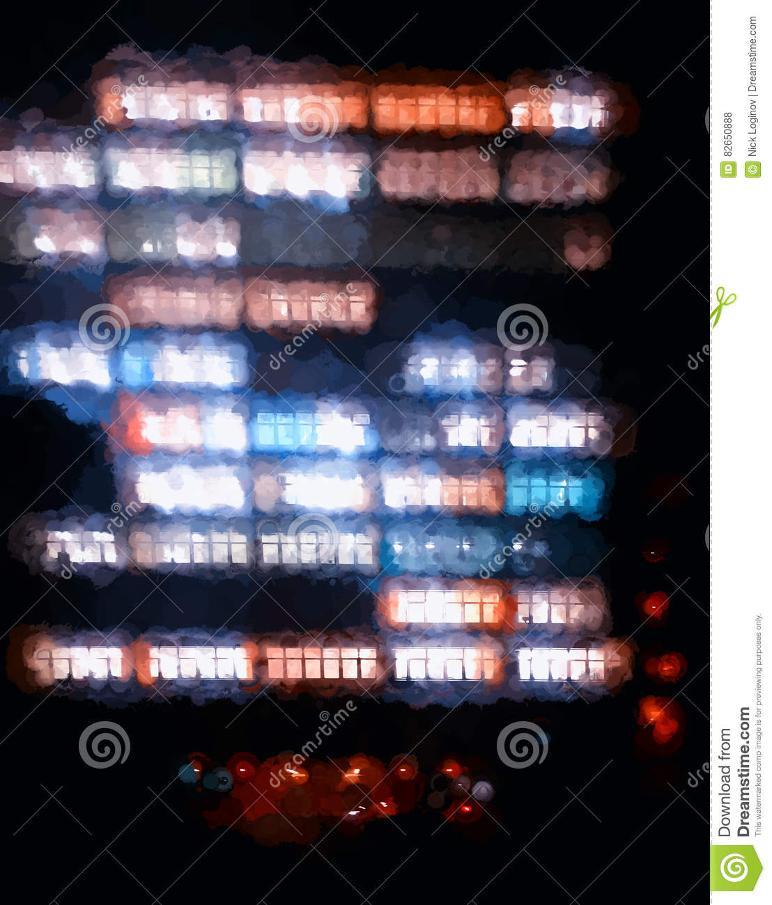 Vertical Office Building Illumination Illustration Background Stock