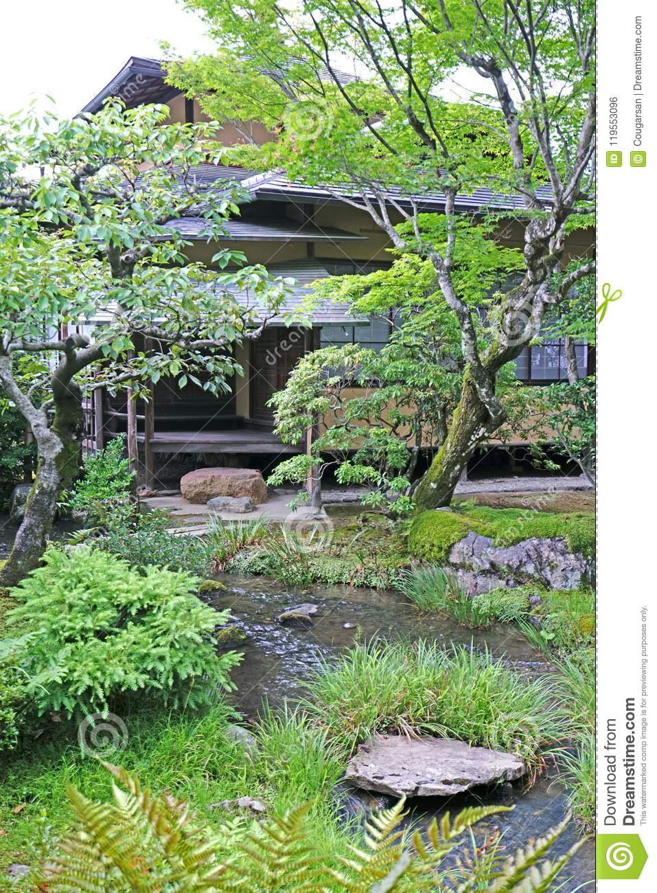 Dreamstime.com & Vertical Outdoor Footpath Green Plants And Pavilion In The ...