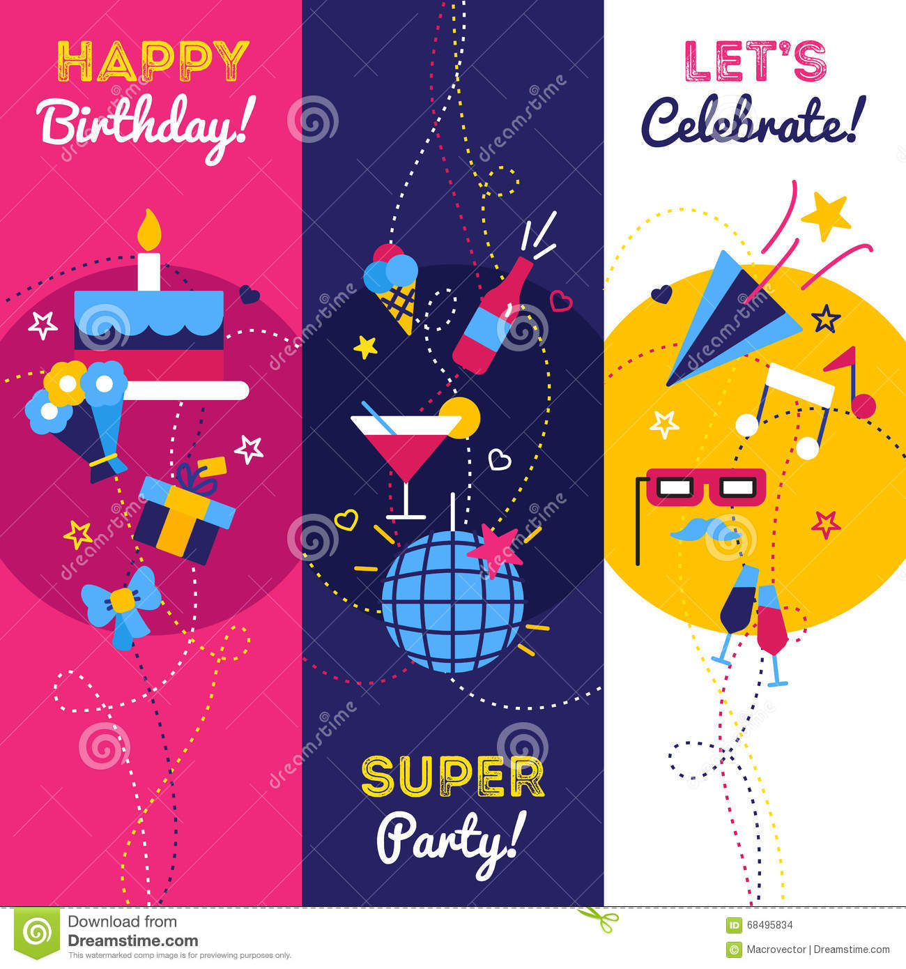 Vertical Party Banners Stock Vector. Image Of Candle