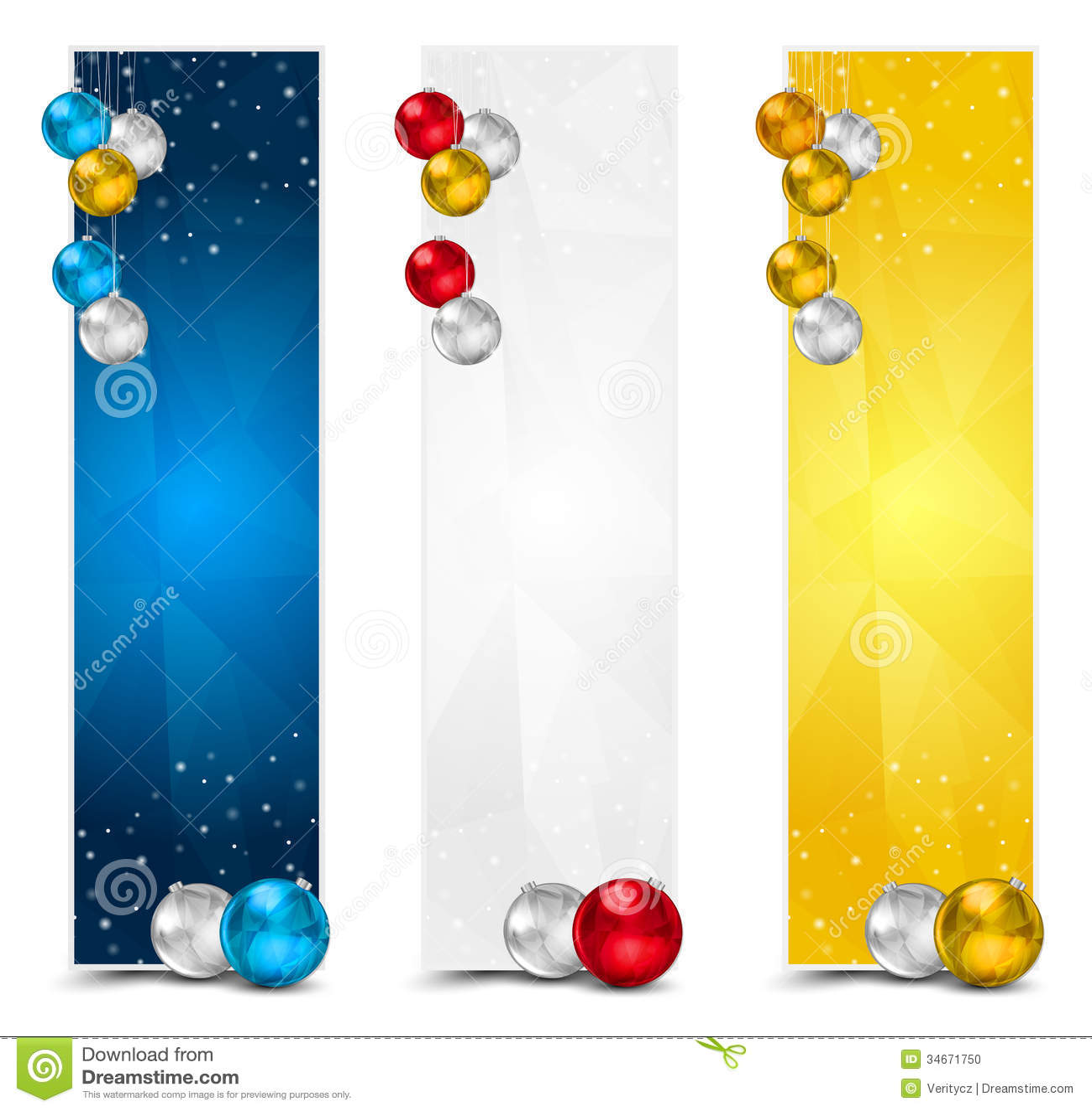 Vertical polygon christmas banners stock vector image