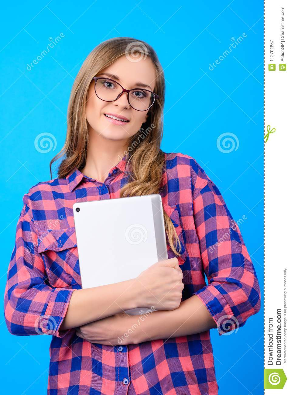 Vertical portrait of cheerful exited cute lovely pretty beautiful charming imaging beautiful young freelancer female student