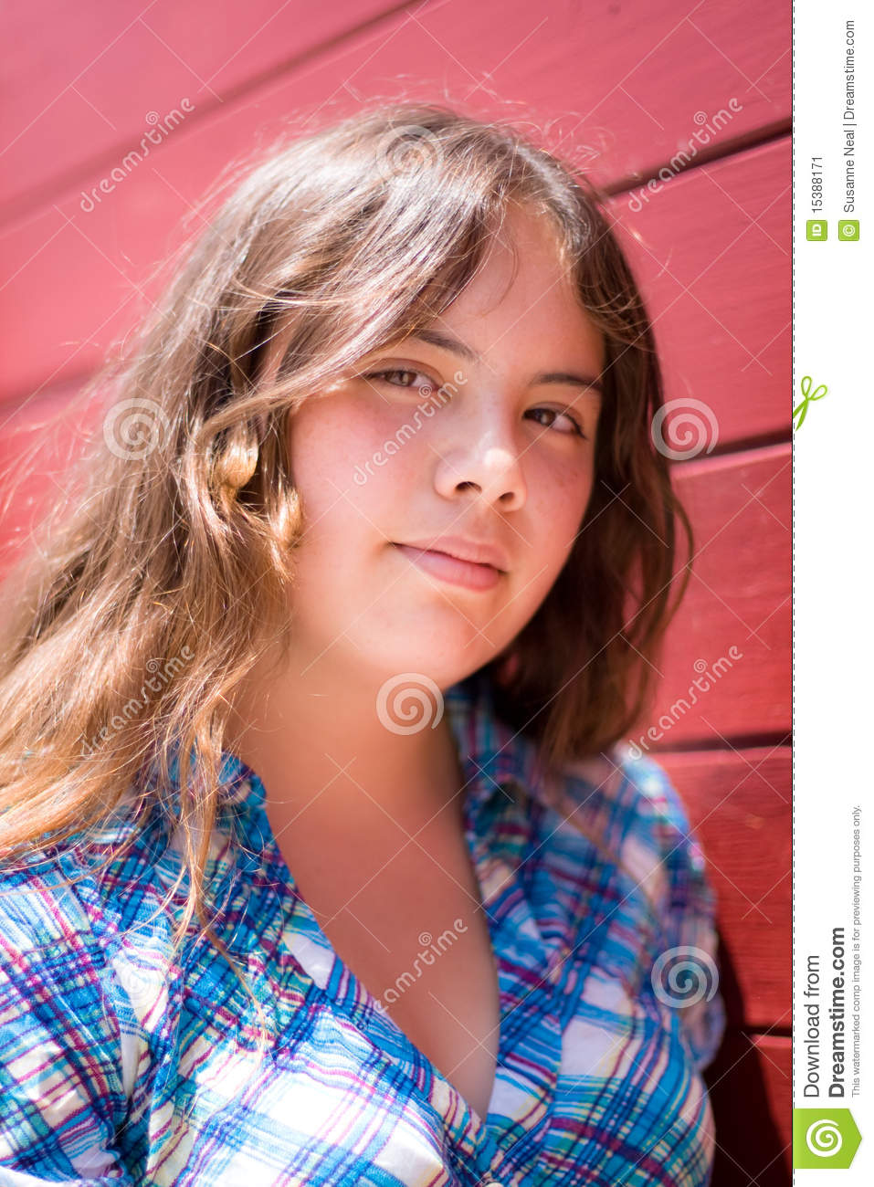 Vertical Portrait Of Pretty 14 Year Old Girl Stock Image