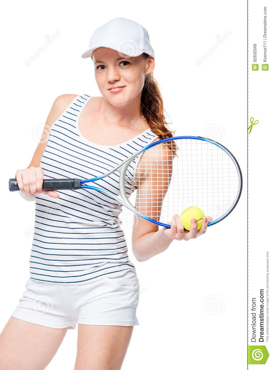 Vertical Portrait Of A Slender Tennis Player In A Cap Stock Image ... 39186d1ddb