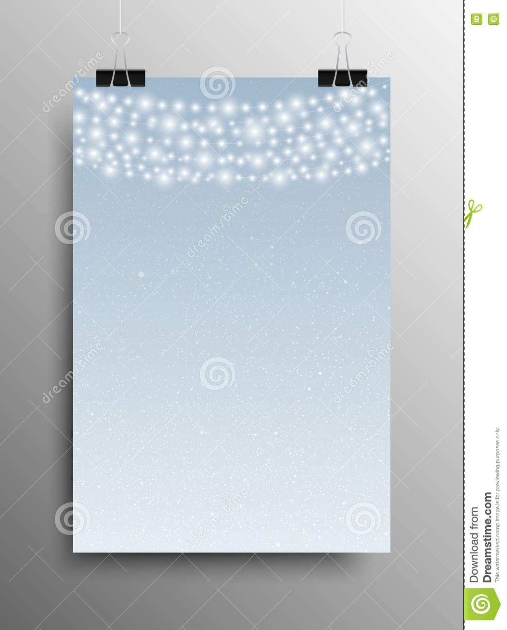 vertical poster snow garland christmas new year