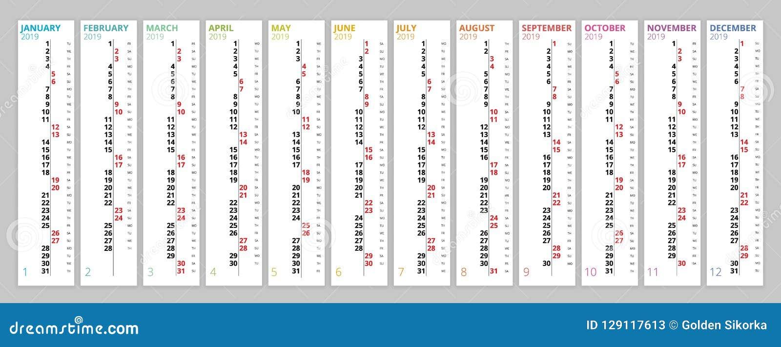 Calendar February 2019 Verticale Vertical Rainbow 2019 Calendar Vector, English Language. 2019