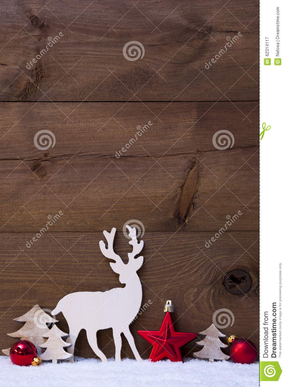 Vertical red christmas card with copy space on snow stock
