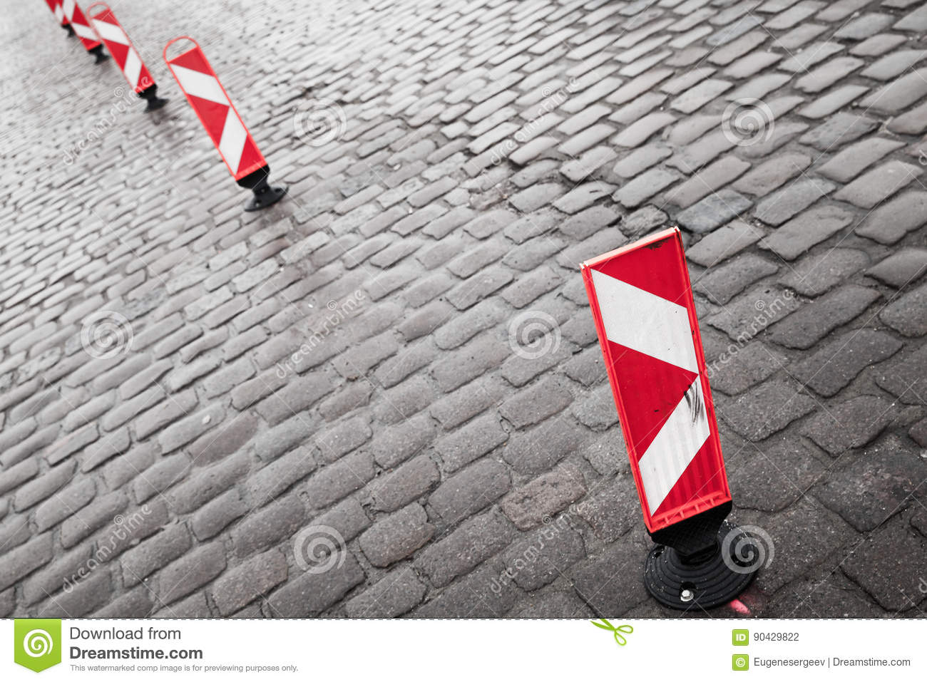 Vertical Red And White Striped Road Signs Stock Photo - Image of