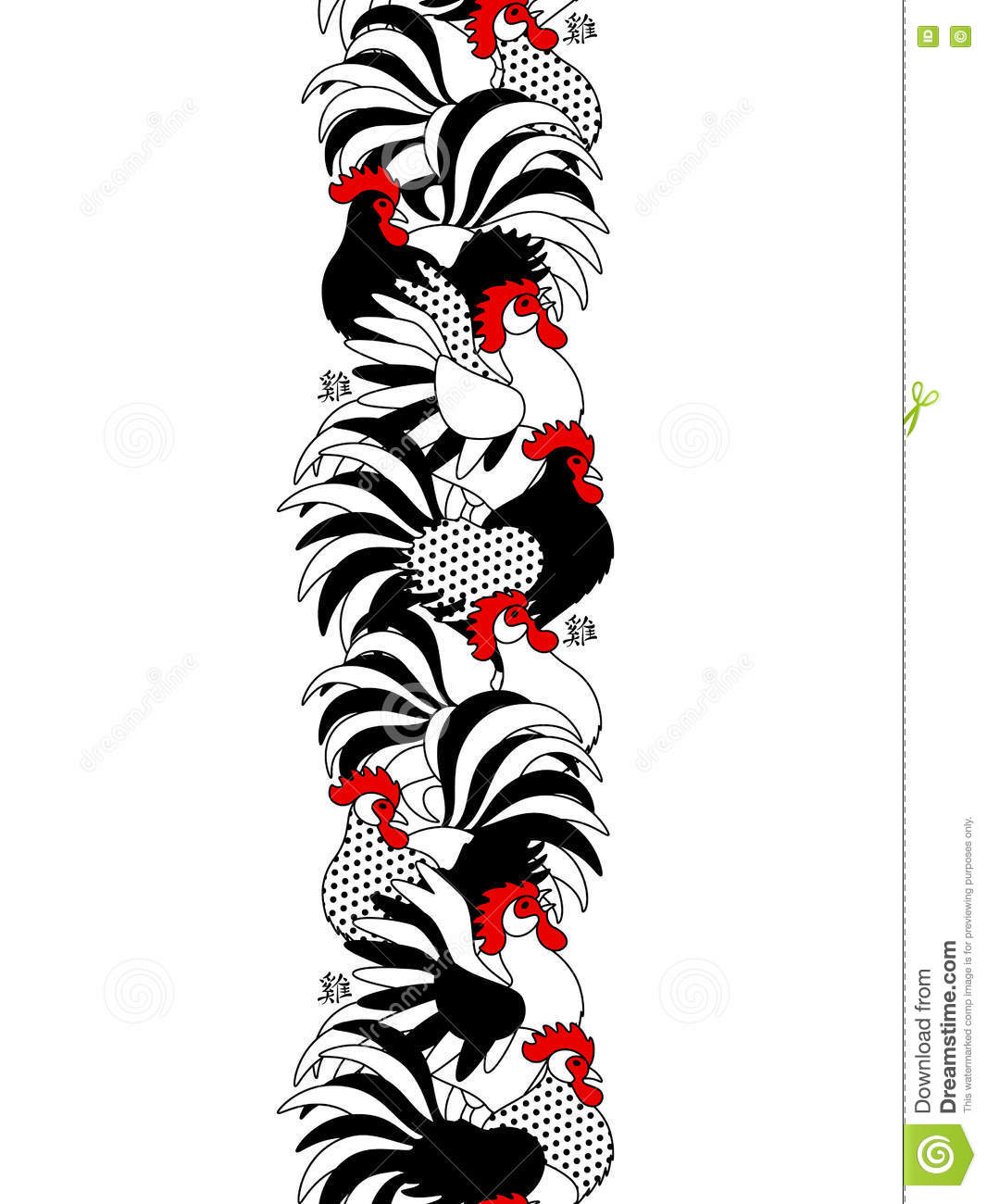 vertical seamless border with roosters