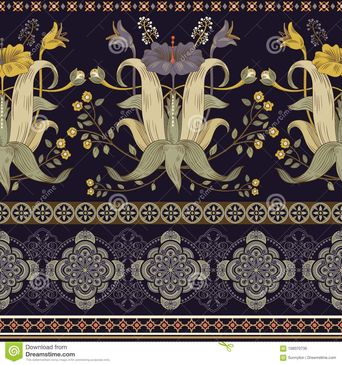 Vertical Seamless Pattern Victorian Style Vintage Floral