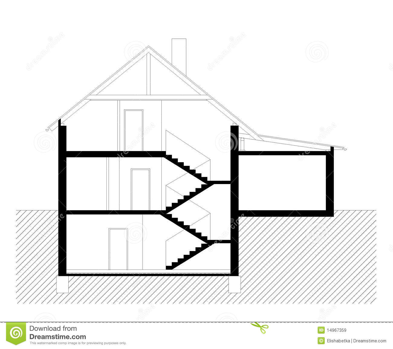 Vertical Section Of Family House Royalty Free Stock Images