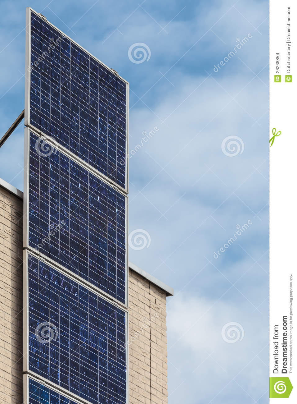 Vertical Solar Panels On A Newly Build House Stock Images