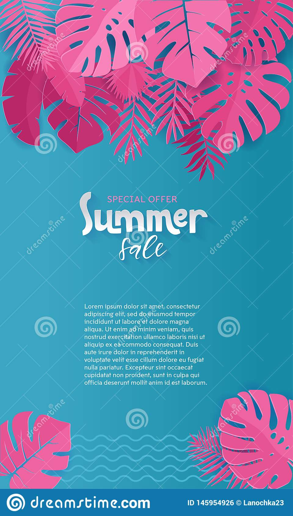 Vertical Summer Sale paper cut Background with Palm, monstera, banana pink Leaves with place for your text.Trendy Jungle banner.
