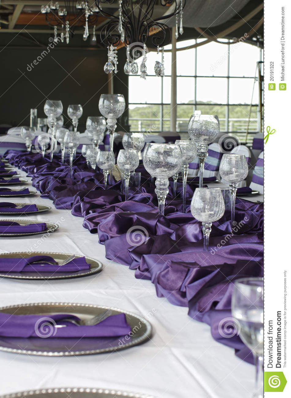 Vertical Table Setting For Wedding, Purple Stock Photo - Image ...