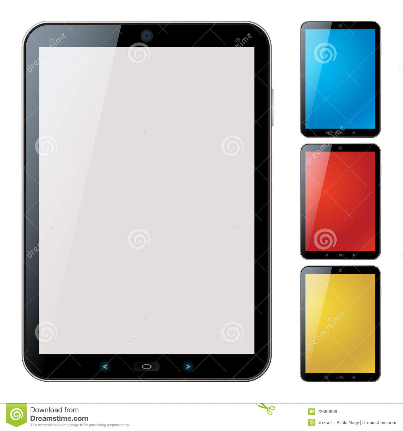 vertical tablet pc set isolated vector royalty free