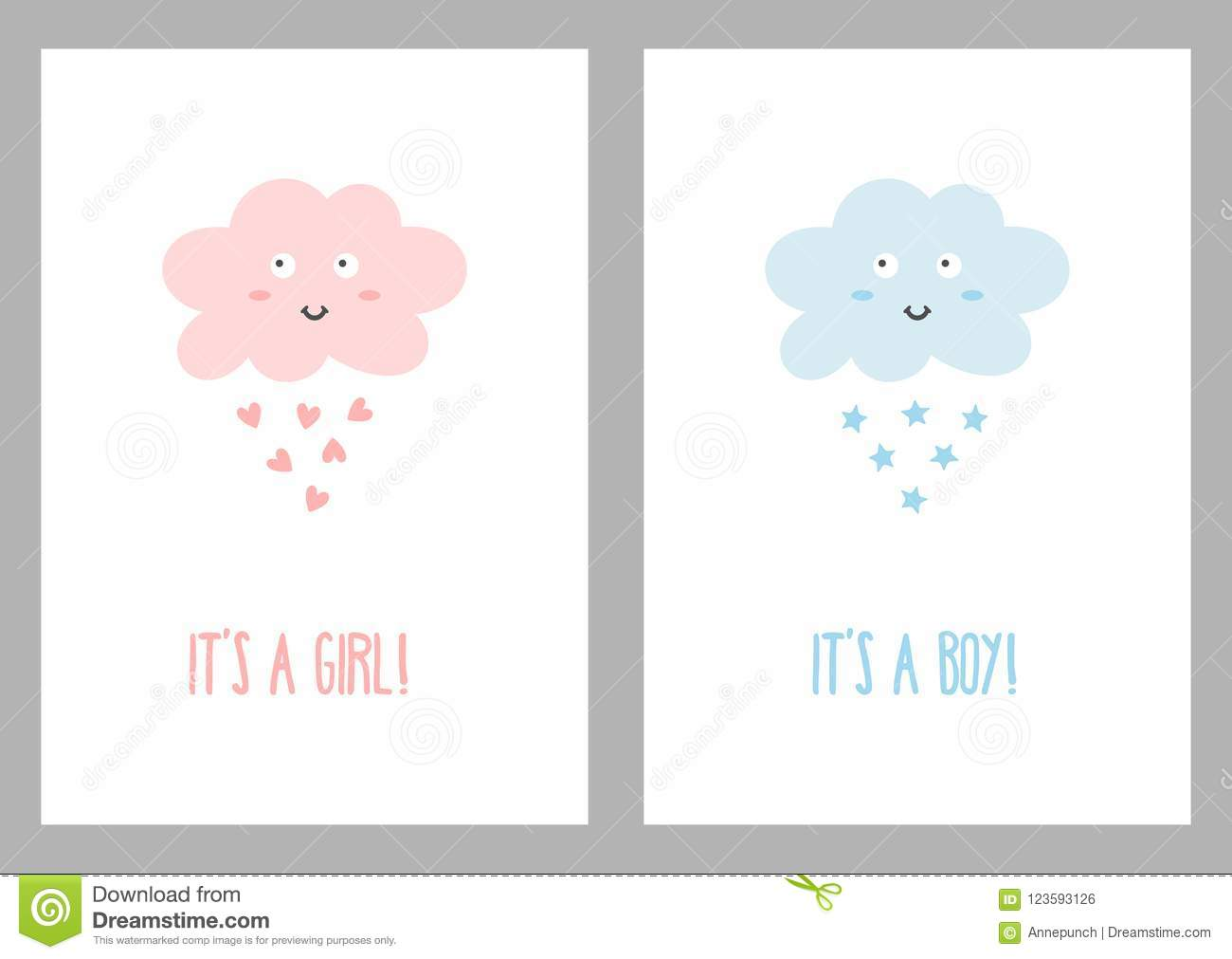 vertical templates with texts it s a girl and it s a boy stock