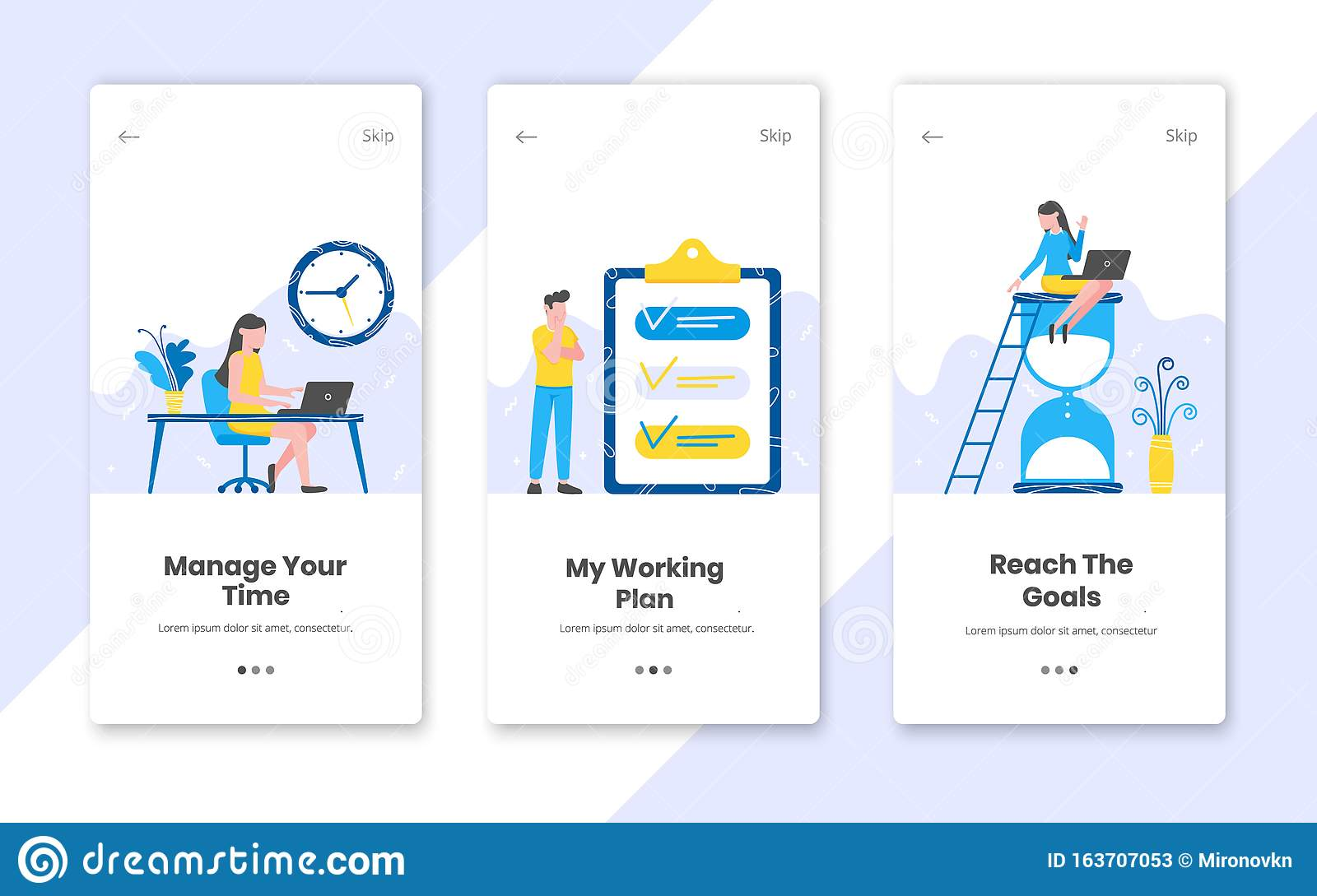 3 Vertical Time Management Banners Set With Work Time Planning Stock Vector Illustration Of Alarm Element 163707053