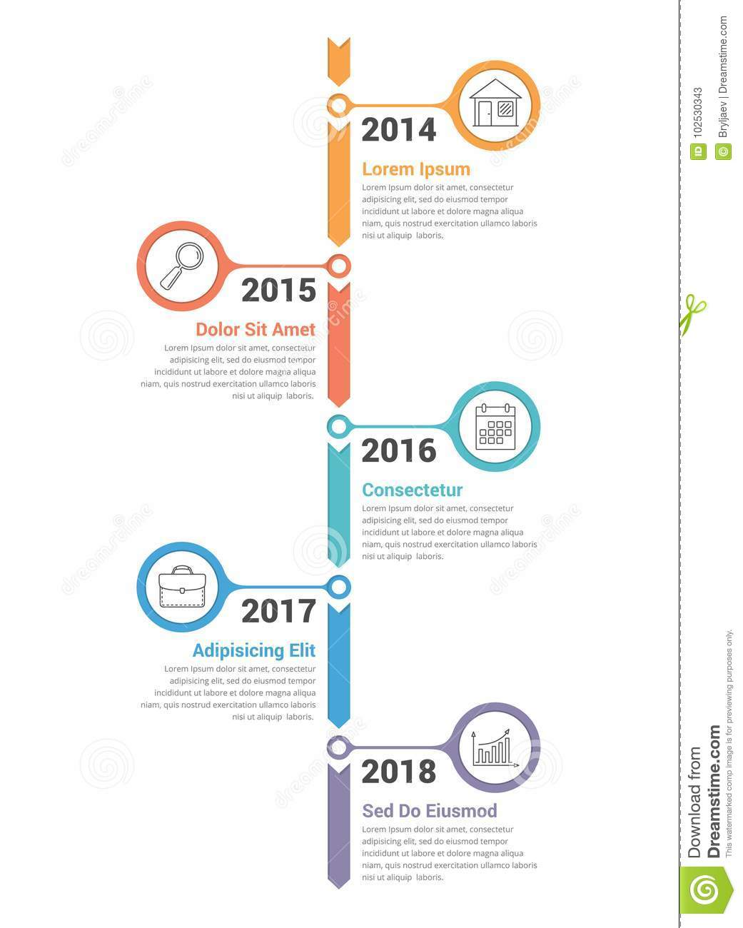 vertical timeline infographics stock vector illustration of
