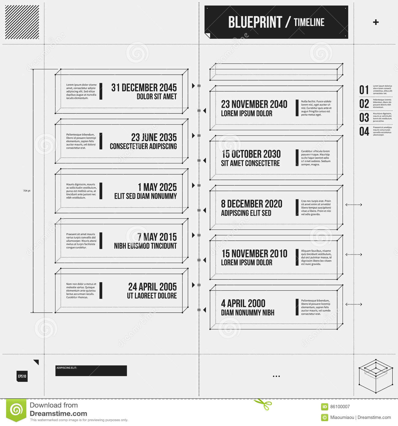 Vertical Timeline Template In Draft Style Stock Vector